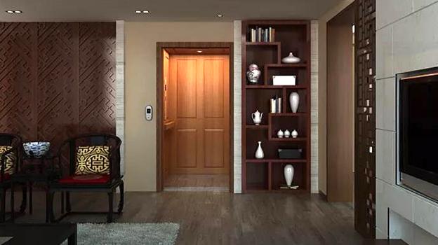 蒂森克虏伯福朗型别墅电梯轿厢装饰整体采用家装材料,高度匹配居家装